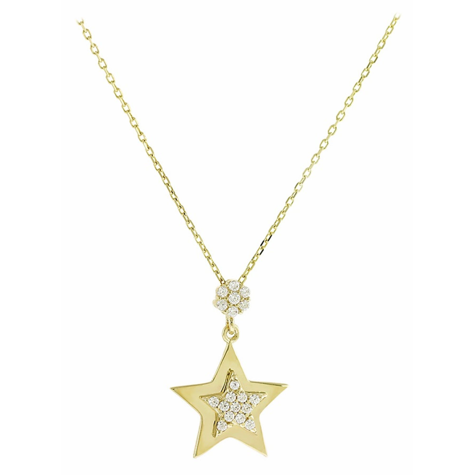 Κολιέ με Αστέρι σε Κίτρινο Χρυσό 14 Καράτια