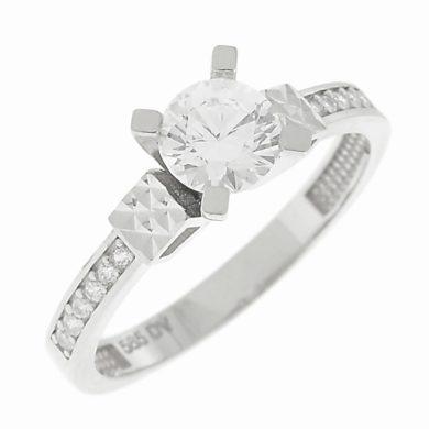 Λευκόχρυσο Δαχτυλίδι με Πλαινές Πέτρες Ζιργκόν14 Καρατίων