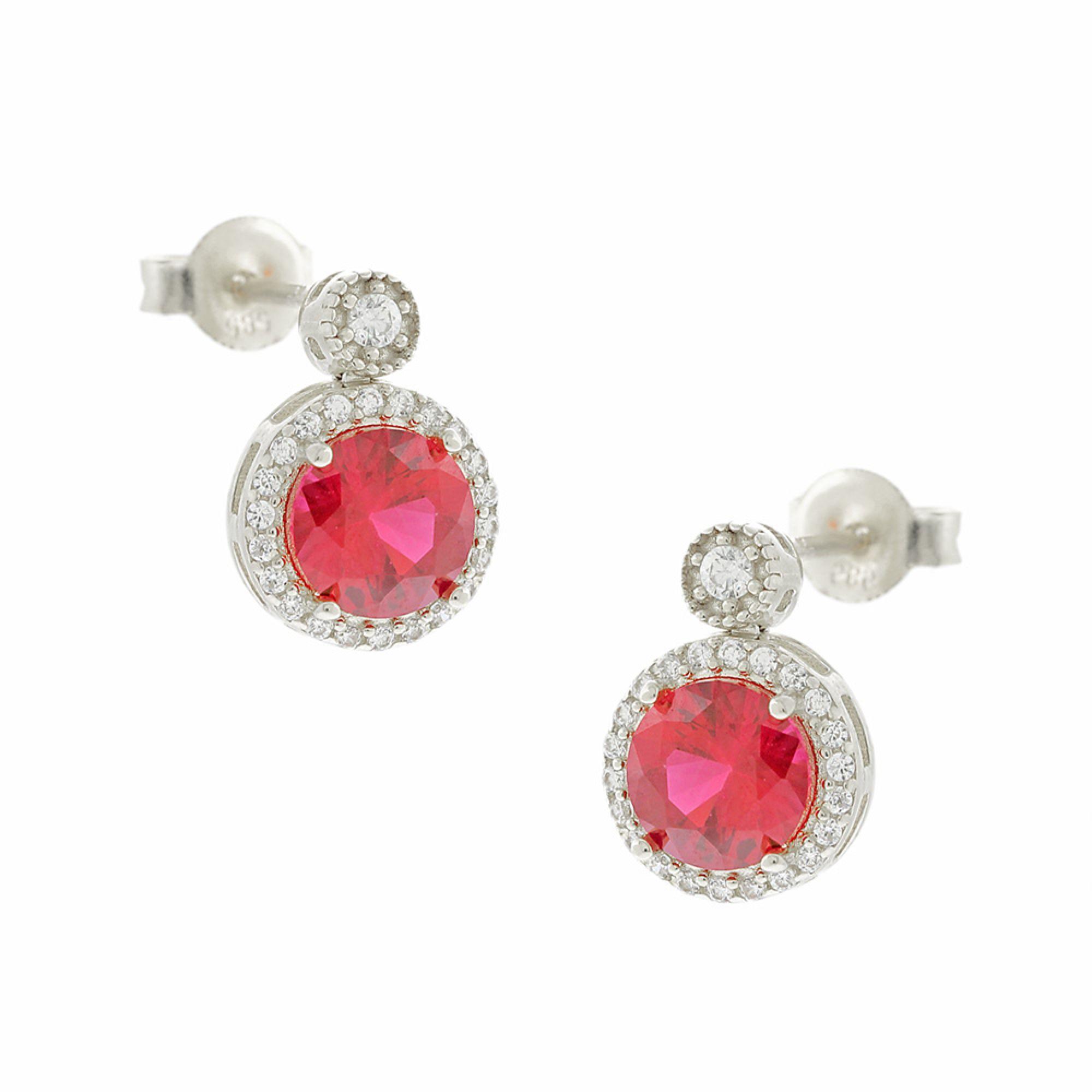 Σκουλαρίκια με Κόκκινη Πέτρα Ζιργκόν σε σχήμα Ροζέτας 14 Καράτια