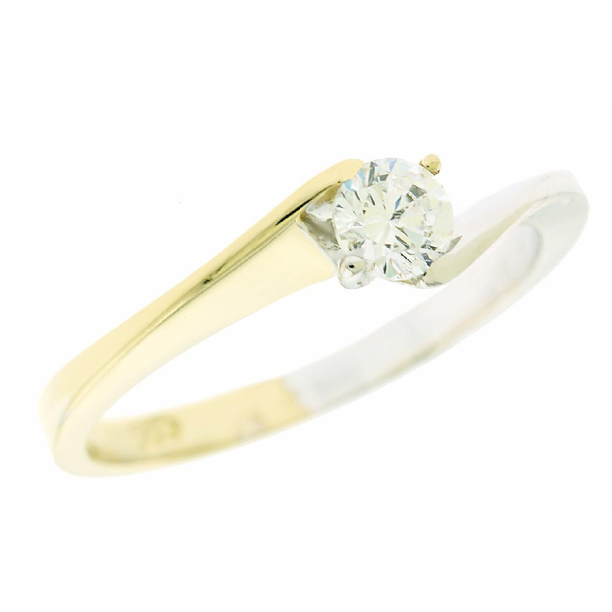 Χρυσό δαχτυλίδι 14 καρατίων από κίτρινο και λευκό χρυσό με λευκή πέτρα.