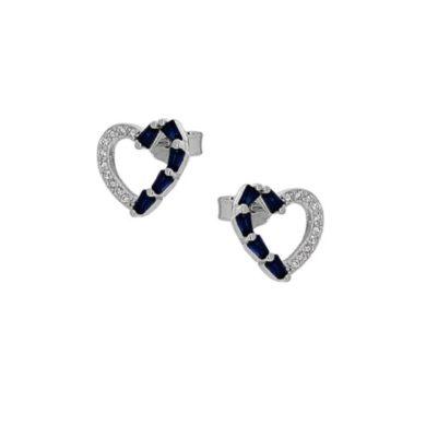 Ασημένια Σκουλαρίκια με Καρδιά και Πέτρες