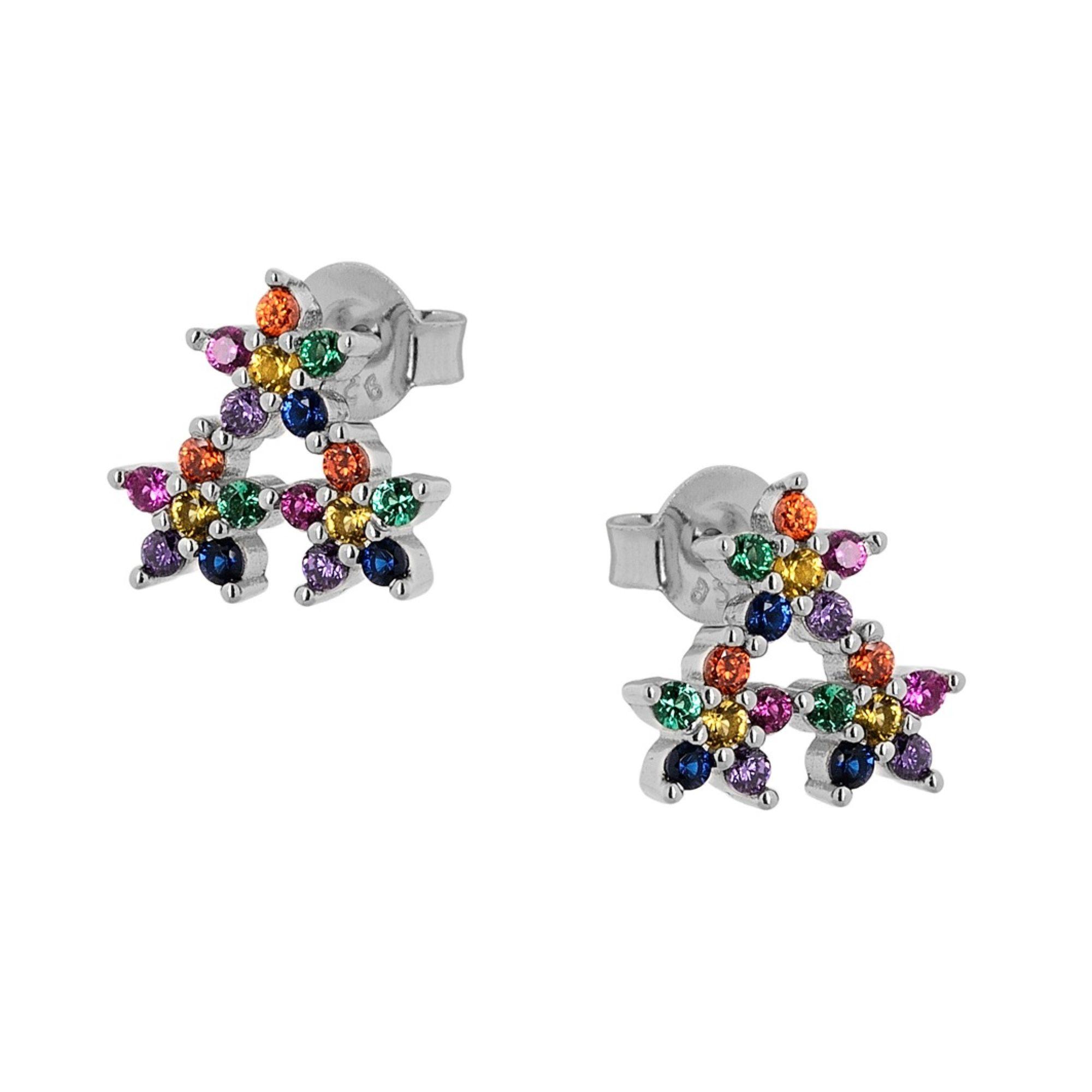 Ασημένια Σκουλαρίκια με Πολύχρωμες Πέτρες