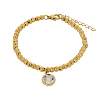 Βραχιόλι Visetti με Χρυσές Χάντρες και Κρύσταλλο HT-WBR001G