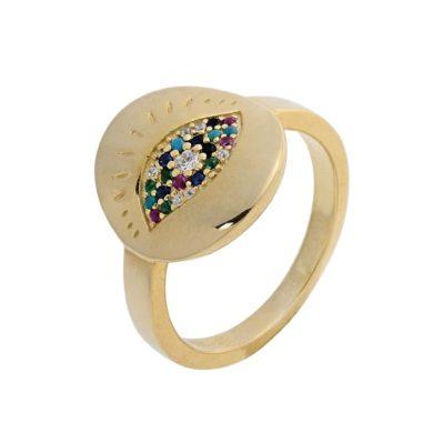 Ασημένιο δαχτυλίδι 925 με Πολύχρωμες Πέτρες Ζιργκόν