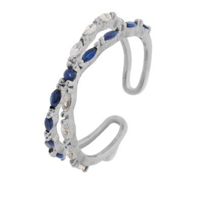 Ασημένιο δαχτυλίδι 925 με Μπλέ και Λευκές Πέτρες