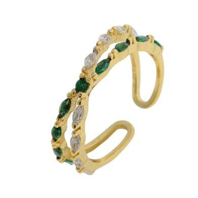 Ασημένιο δαχτυλίδι 925 με Πράσινες και Λευκές Πέτρες