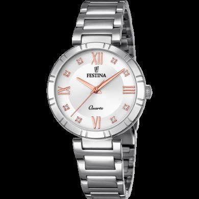 Ρολόι Festina με Ασημί Καντράν και Μπρασελέ F16936/B+ Δώρο Βραχιόλι (Copy)