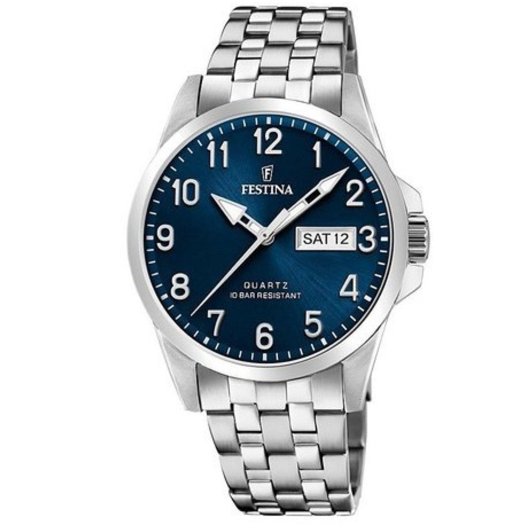 Ρολόι Festina με Μπλέ Καντράν F20357/D + Δώρο Βραχιόλι