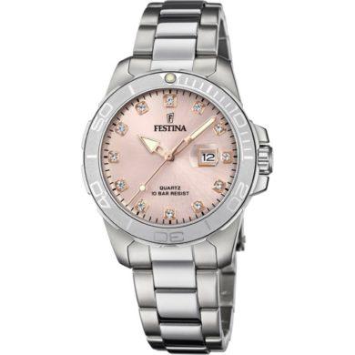 Ρολόι Festina με Ροζ Καντράν F20503/2+ Δώρο Βραχιόλι