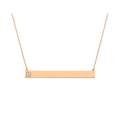 Κολιέ Ταυτότητα σε Ροζ χρυσό με Μπριγιάν 0,012ct