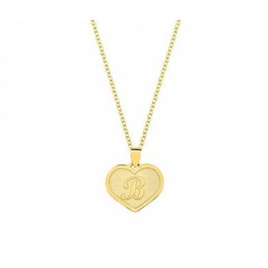 Χρυσό Κολιέ Μονόγραμμα σε Καρδιά 14 Καράτια