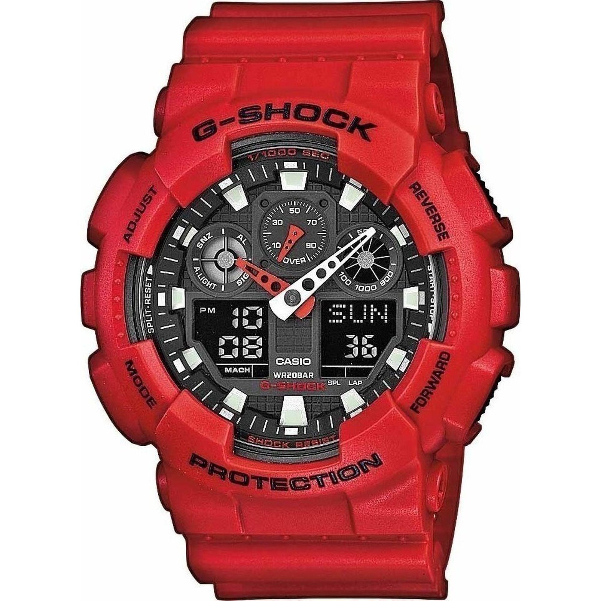 Casio G-Shock με Κόκκινο Καουτσούκ Λουράκι GA-100B-4AER