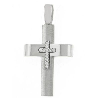 Λευκόχρυσος Γυναικείος Σταυρός με Πέτρες Ζιργκόν + Αλυσίδα (45cm)