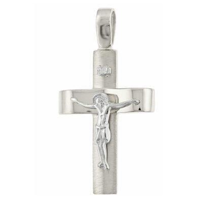 Λευκόχρυσος Ανδρικός Σταυρός με τον Ενσταυρωμένο + Αλυσίδα