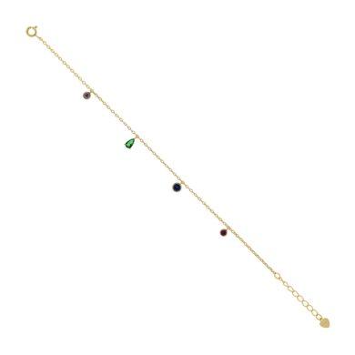 Βραχιόλι 925 με Πέτρες Ζιργκόν σε Κίτρινο Χρυσό