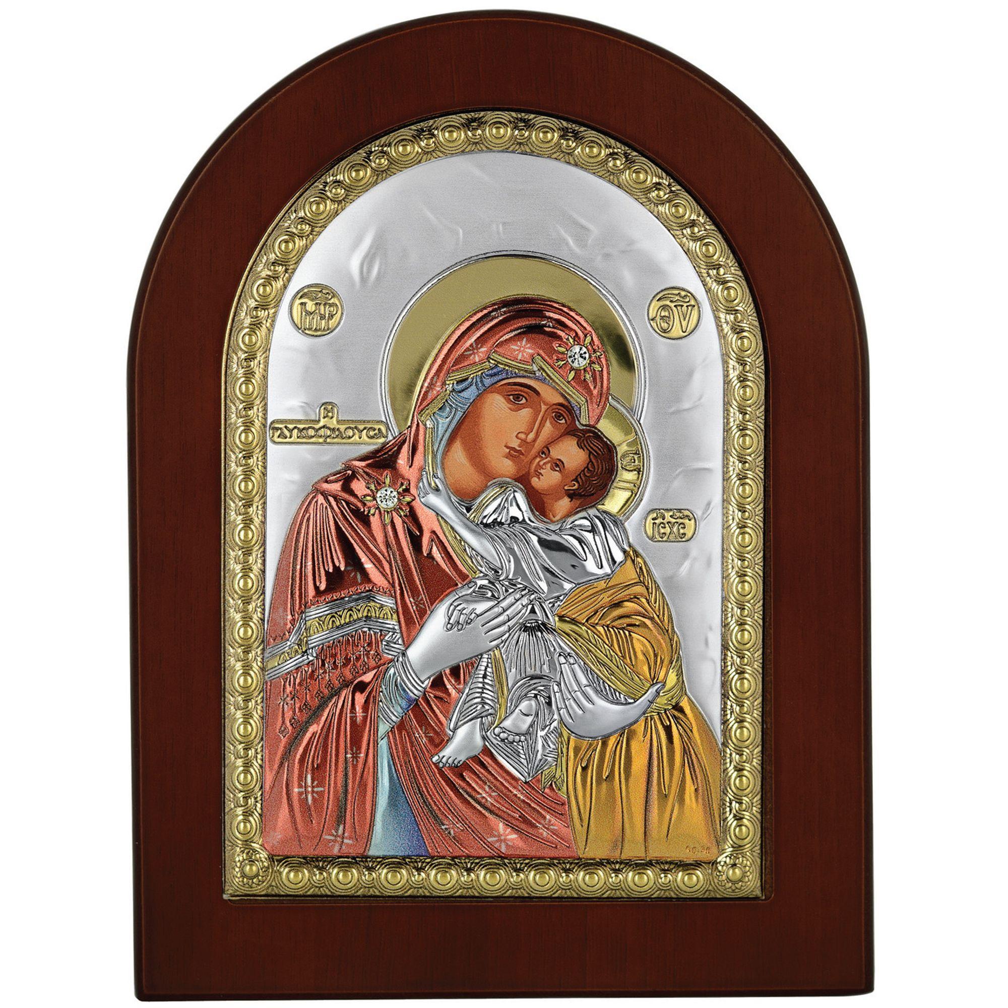 Ασημένια Εικόνα Princesilvero Παναγία Γλυκοφιλούσα MA-E1104-X-C 15x21cm