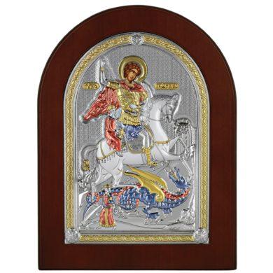 Ασημένια Εικόνα Princesilvero του Αγίου Γεωργίου MA-E1530-X-C 24x18cm