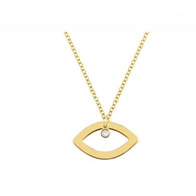 Χρυσό Κολιέ Μάτι με Διαμάντι 14 Καράτια