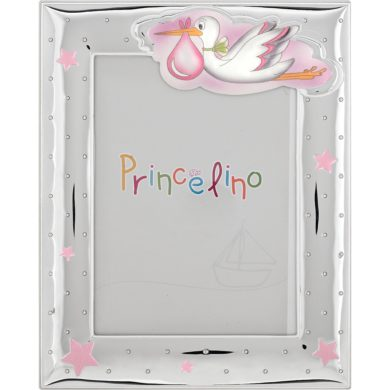 Prince Silvero Ασημένια Κορνίζα με Πελαργό για Κορίτσι MA/270-R
