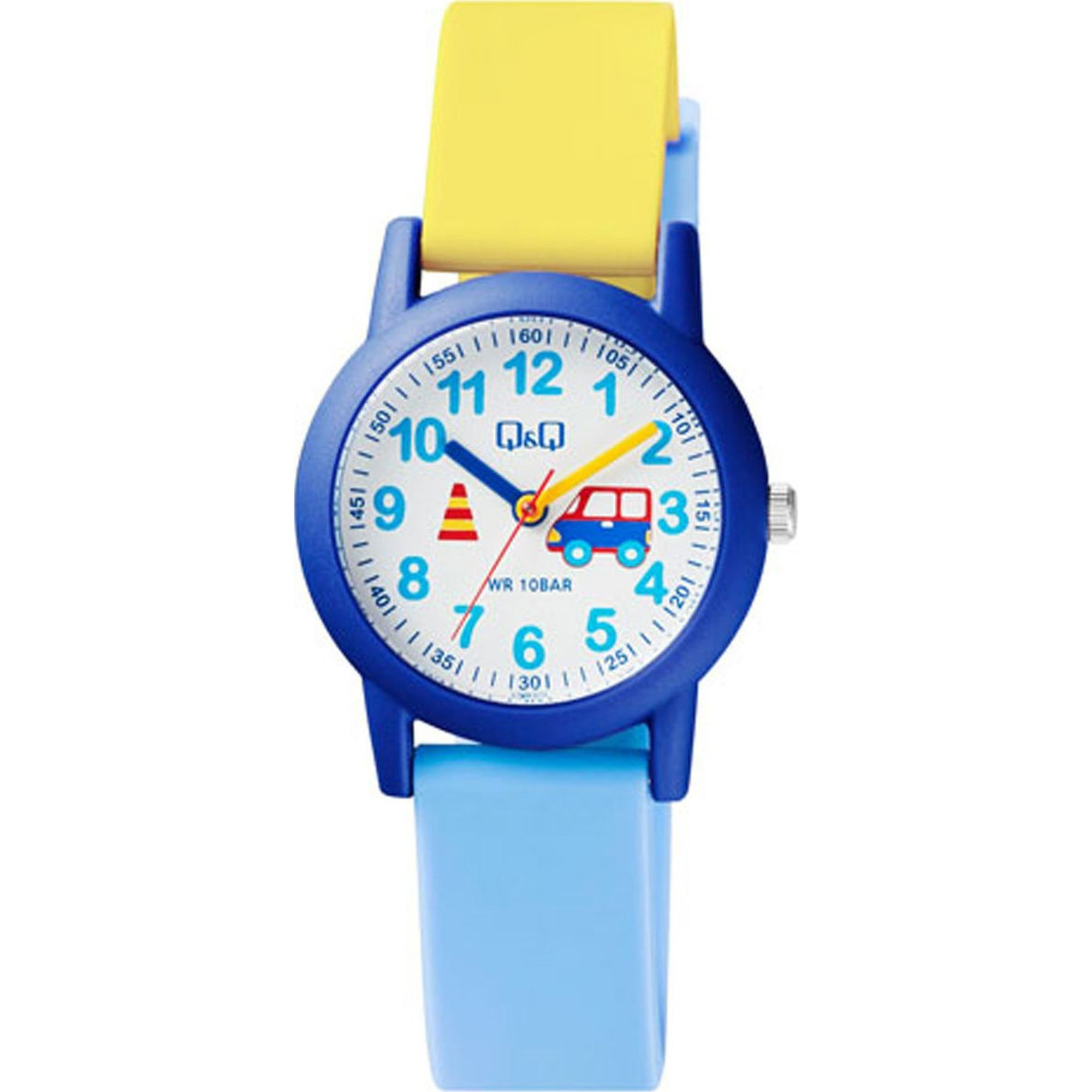 Q&Q Ρολόι σε Γαλάζιο και Κίτρινο Χρώμα VS49J010