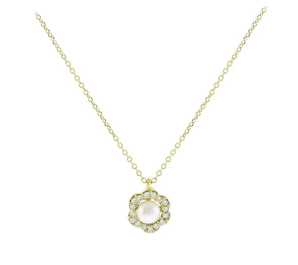 Χρυσό Κολιέ Ροζέτα με Μαργαριτάρι 9 Καράτια Κίτρινο