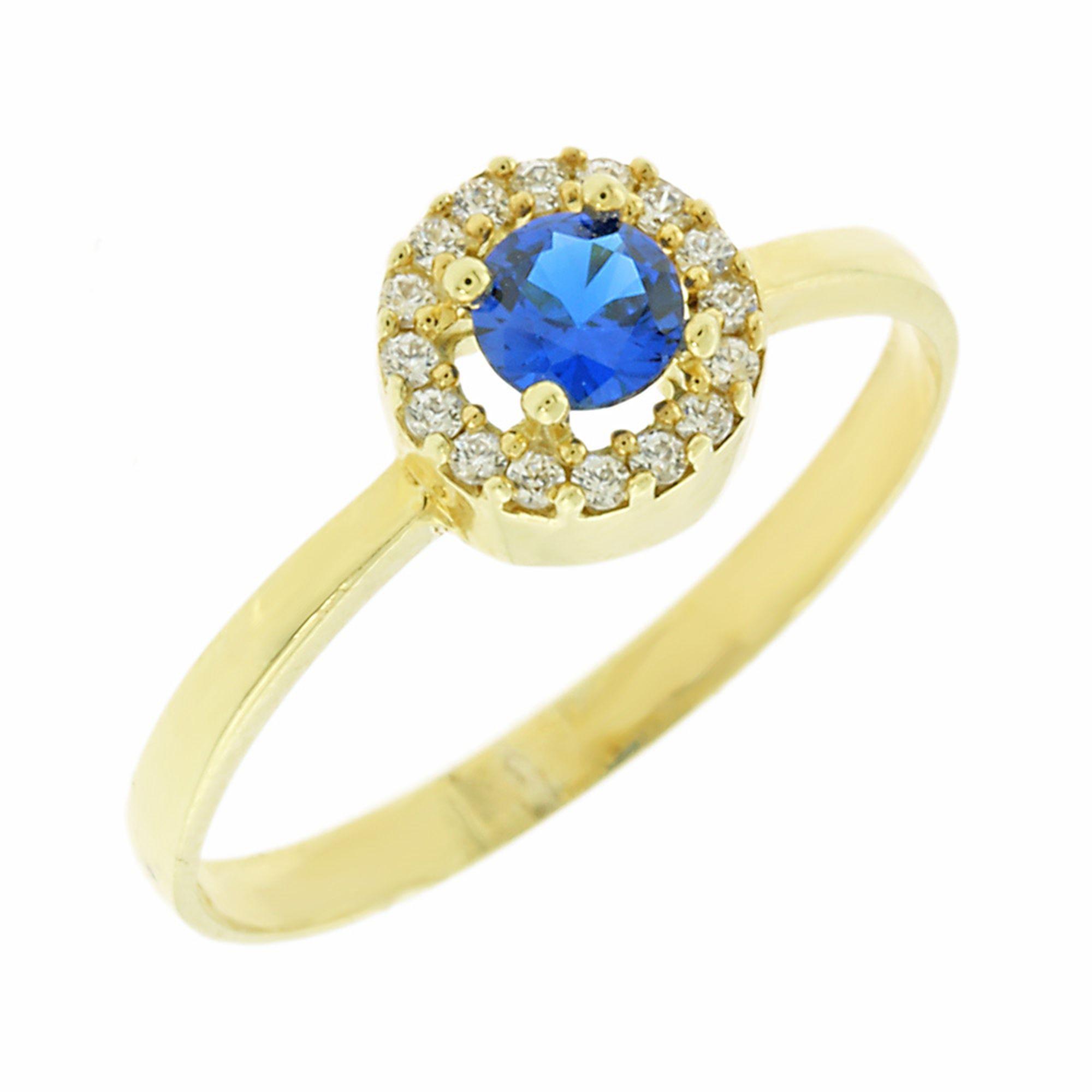 Δαχτυλίδι Ροζέτα με Μπλέ Πέτρα 9 Καρατίων