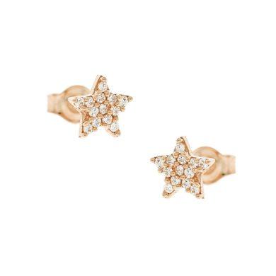 Χρυσά Σκουλαρίκια ¨Αστέρι¨ με Πέτρες 9 Καράτια Ροζ