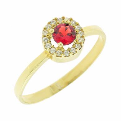 Δαχτυλίδι Ροζέτα με Κόκκινη Πέτρα 9 Καράτια