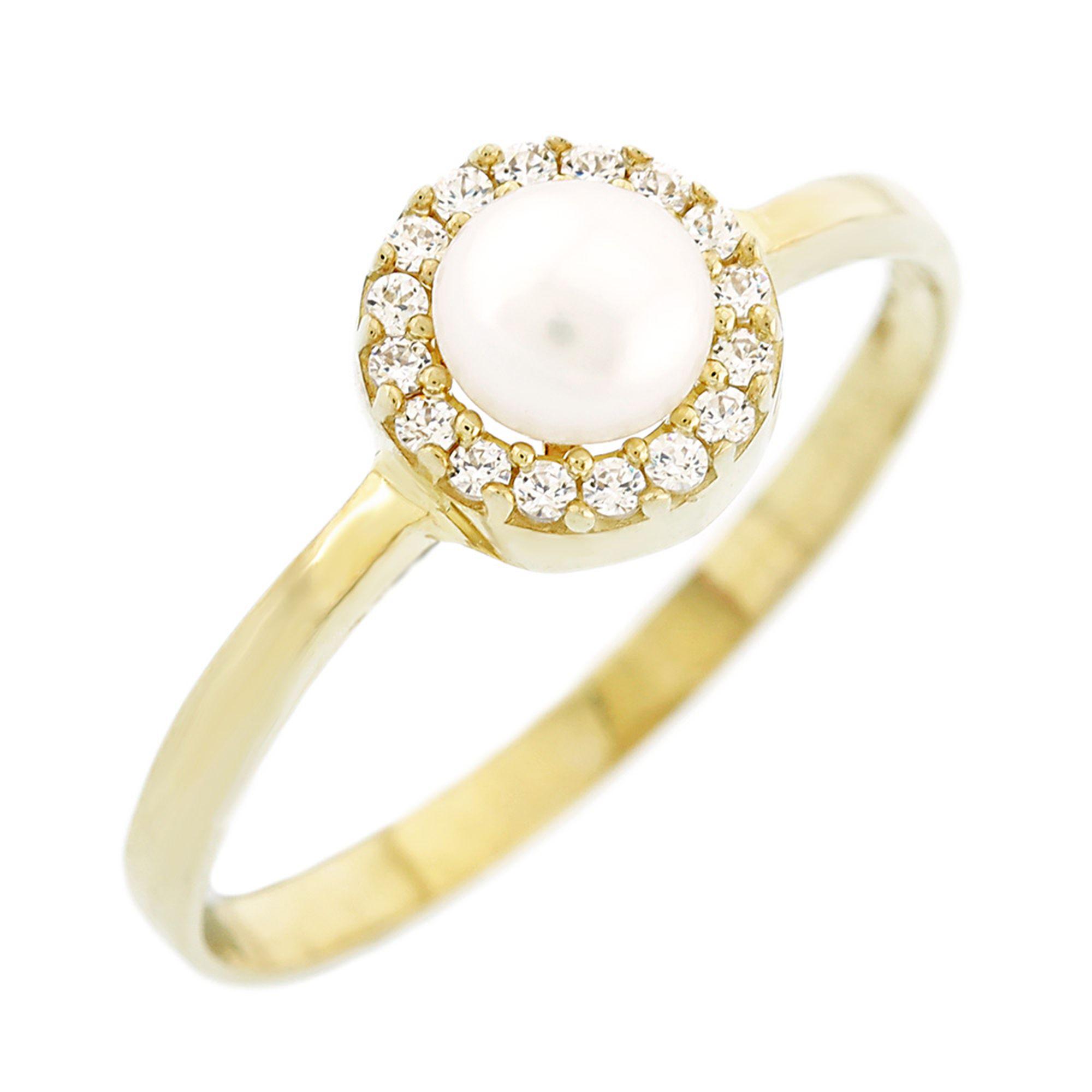 Δαχτυλίδι Ροζέτα με Μαργαριτάρι 9 Καράτια Κίτρινο