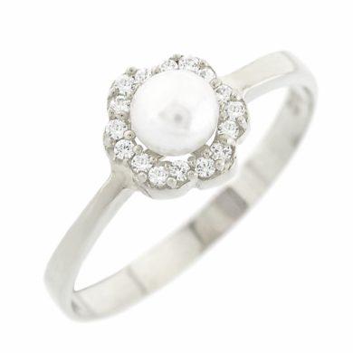 Λευκόχρυσο Δαχτυλίδι Ροζέτα με Μαργαριτάρι 9 Καράτια