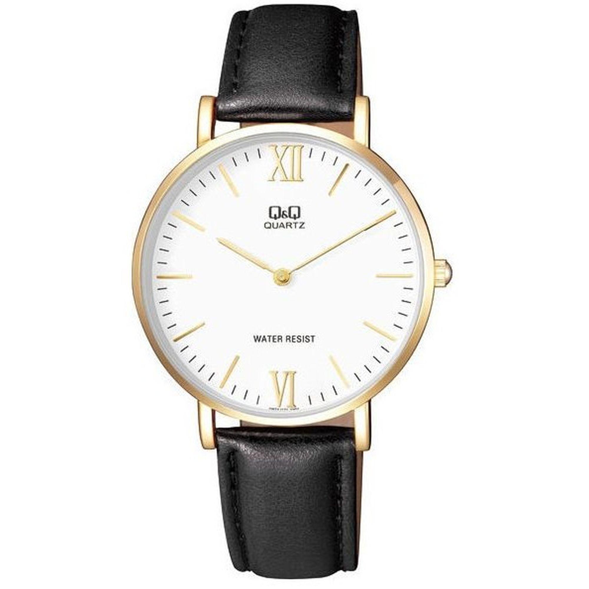 Ρολόγια, ρολόι, ανδρικό ρολόι, δώρα,Ρολόι Q&Q με Μαύρο Λουράκι και Λευκό Καντράν Q974J121