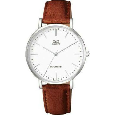 Ρολόγια, ρολόι, ανδρικό ρολόι, δώρα,Ρολόι Q&Q με Καφέ Δερμάτινο Λουράκι Q978J301Y