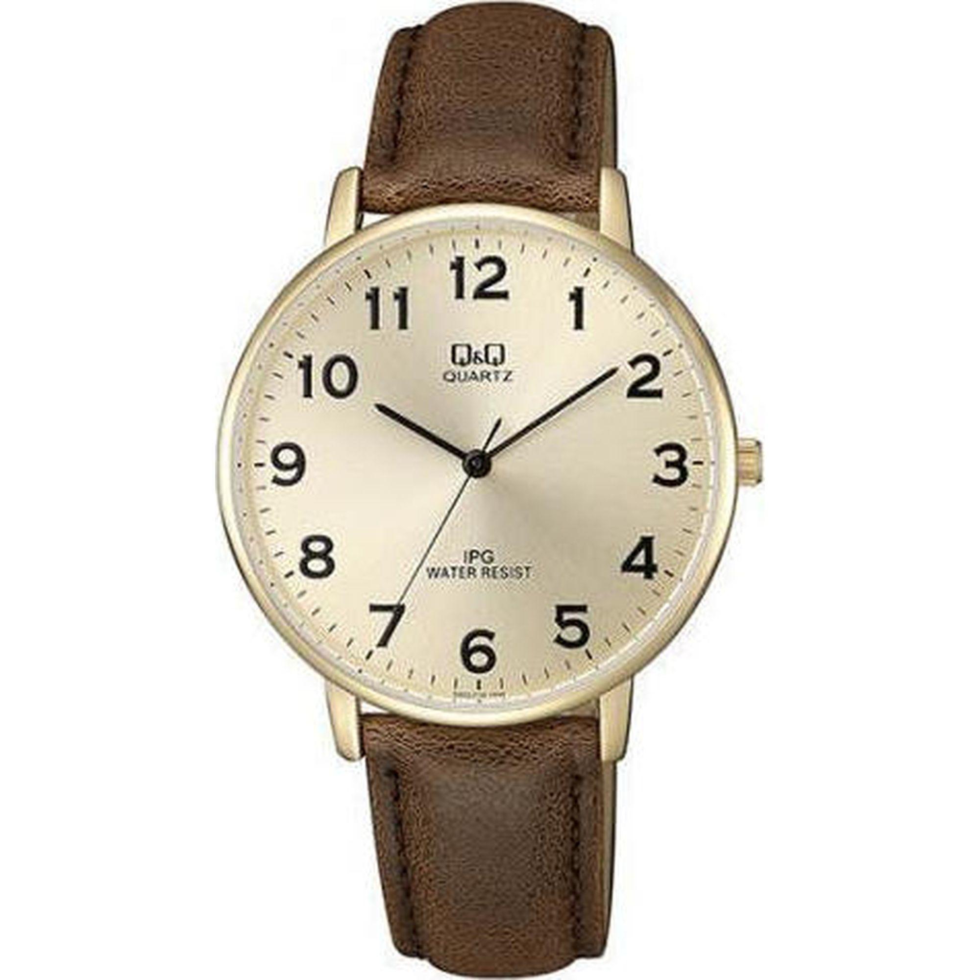 Ρολόγια, ρολόι, ανδρικό ρολόι, δώρα, Ρολόι Q&Q με Καφέ Λουράκι QZ00J103Y
