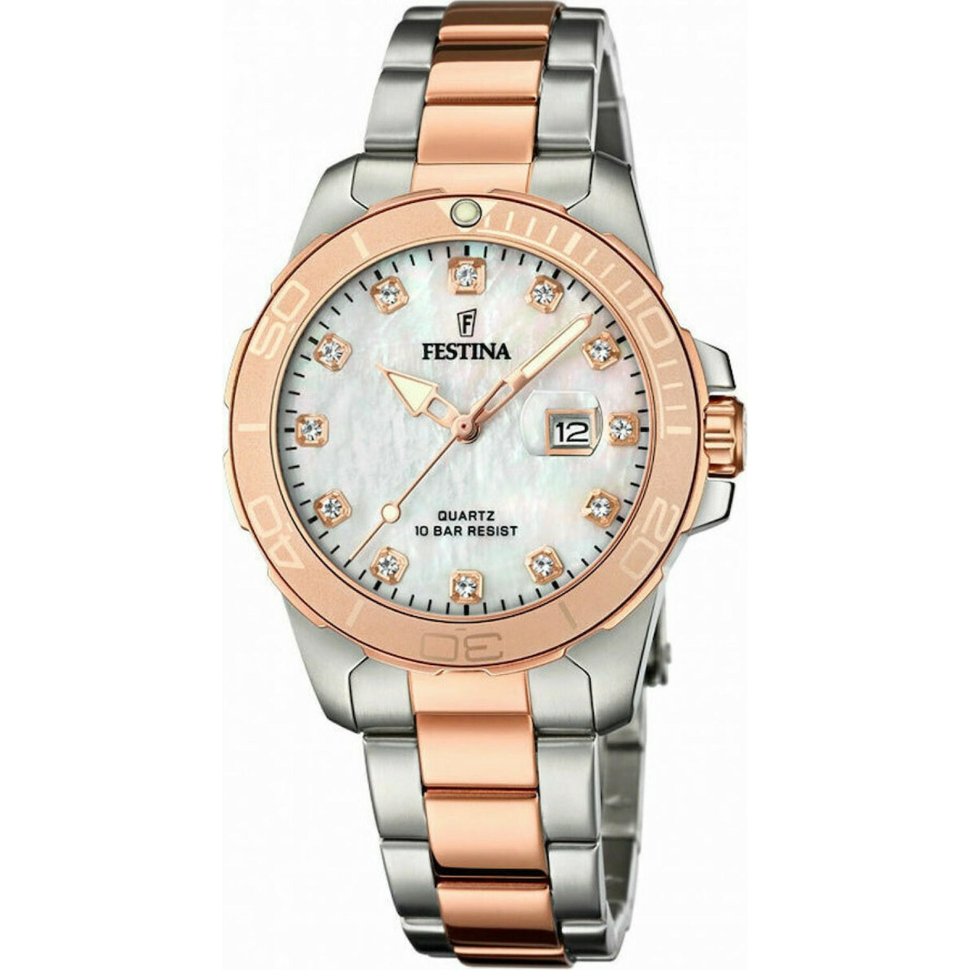 Ρολόι Festina με Δίχρωμο Μπρασελέ F20505/1 + Δώρο Βραχιόλι