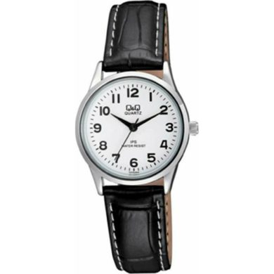 Ρολόι Q&Q με Μαύρο Δερμάτινο Λουράκι C215J304Y