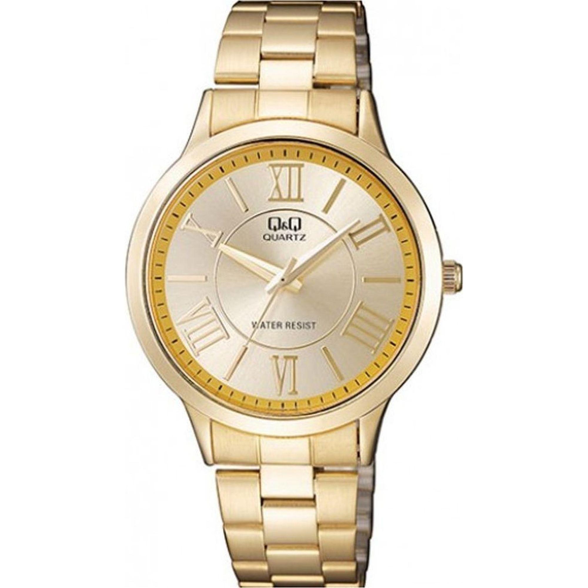 Ρολόι Q&Q με Χρυσό Μπρασελέ και Καντράν QA22J006Y