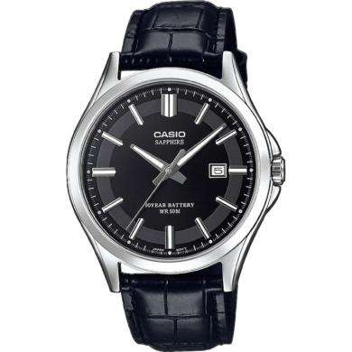 Casio Ρολόι με Δερμάτινο Λουράκι σε Μαύρο χρώμα MTS-100L-1AVEF