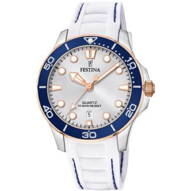 Ρολόι Festina με Λευκό Καουτσούκ Λουράκι F20502/1 + Δώρο Βραχιόλι