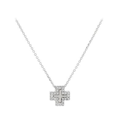 Χρυσό Κολιέ με Σταυρό και Πέτρες Ζιργκόν 9 Καράτια