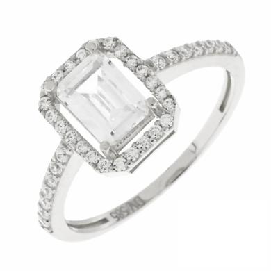 Δαχτυλίδι Ροζέτα με Λευκές Πέτρες Τετράγωνο