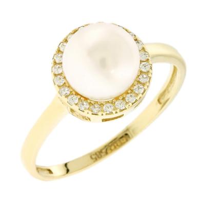 Δαχτυλίδι Ροζέτα με Μαργαριτάρι και Πέτρες Ζιργκόν 14 Καράτια