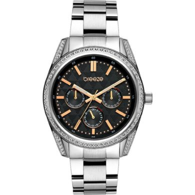 Breeze Floris με Μαύρο Καντράν 612201.2, ρολόι, γυναικέιο ρολόι, Breeze, breeze roloi, rologia,