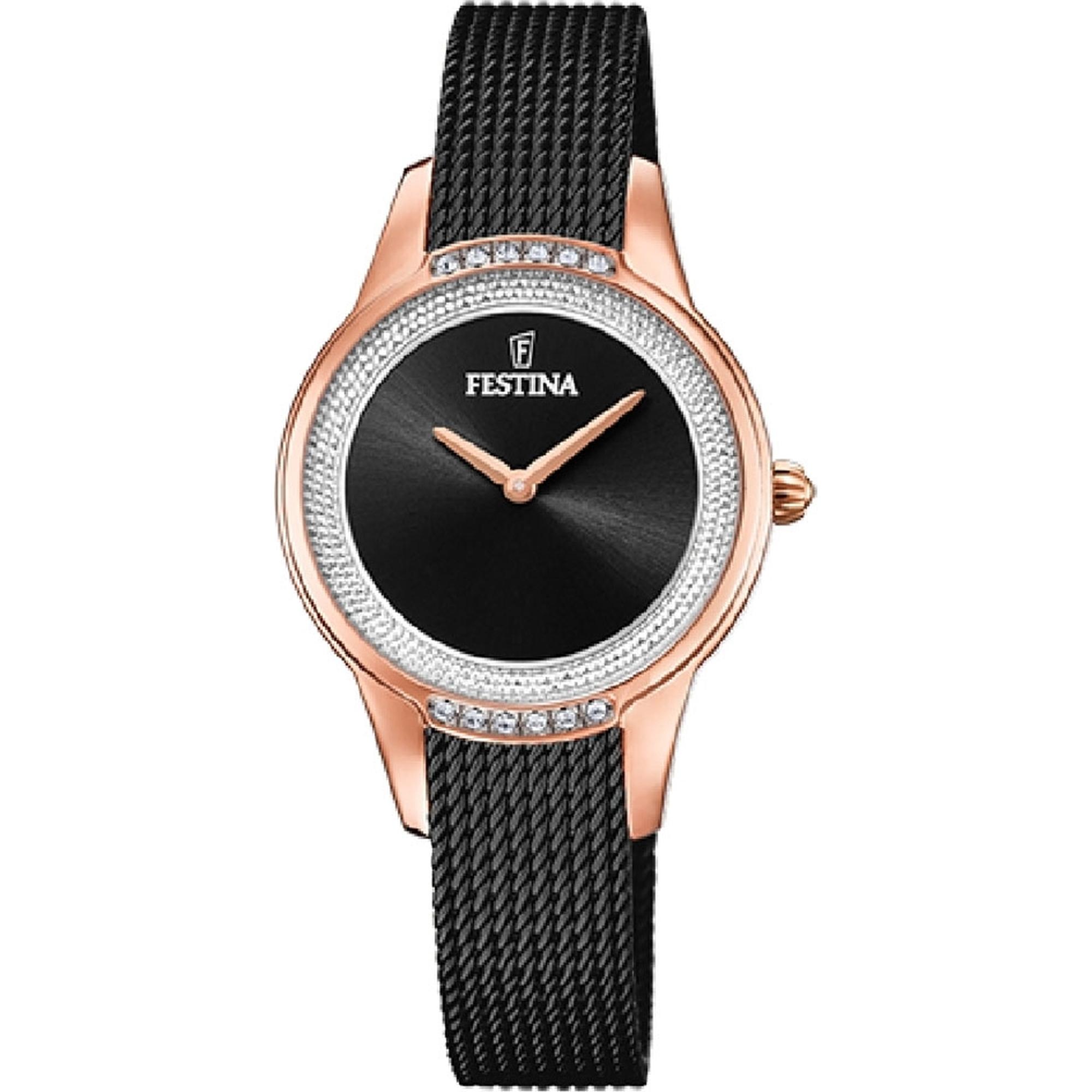 Ρολόι Festina με Μαύρο Μπρασελέ F20496/2 + Δώρο Βραχιόλι