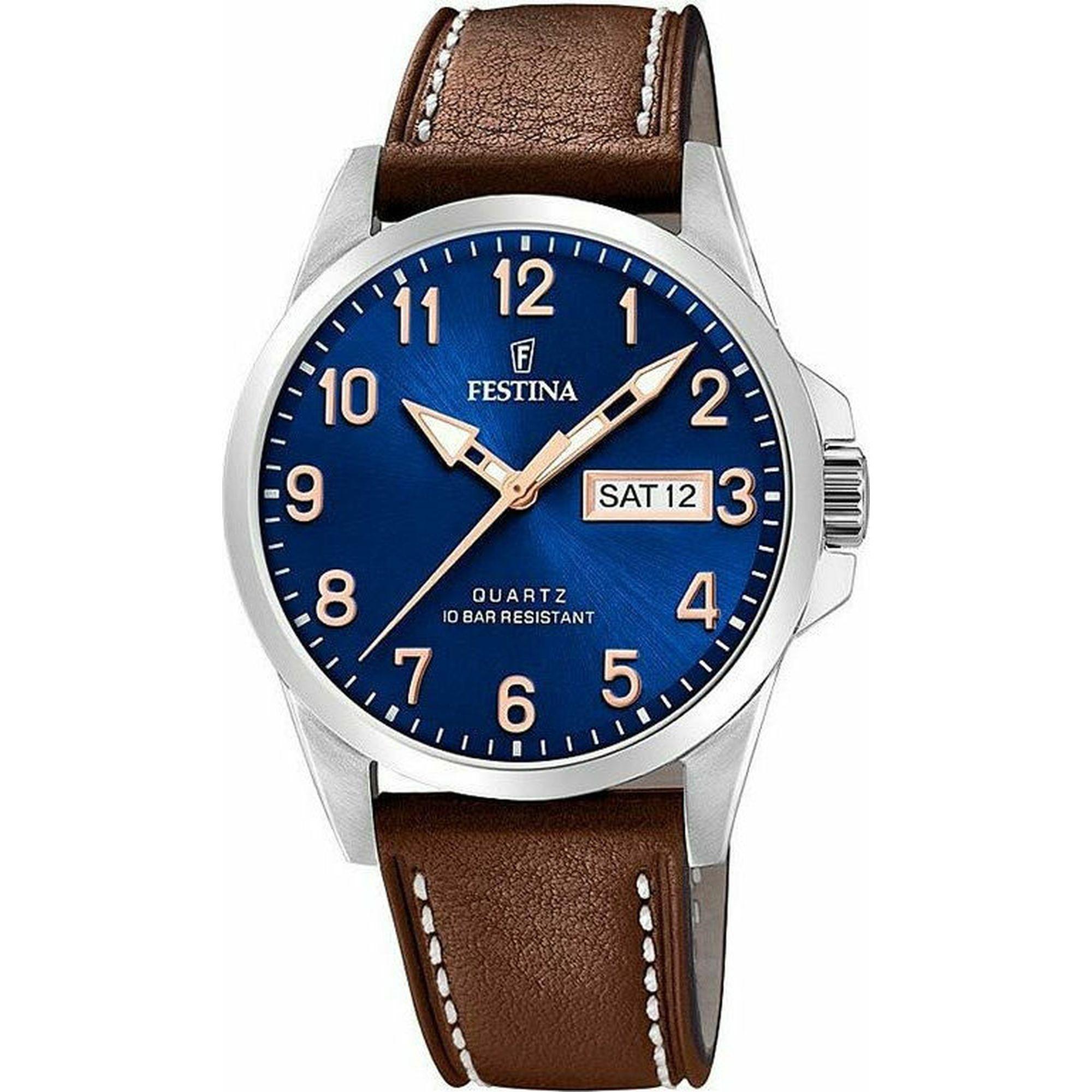 Ρολόι Festina Retro με Καφέ Δερμάτινο Λουράκι F20358/B