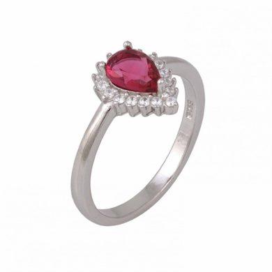 Ασημένιο Δαχτυλίδι με Κόκκινη Πέτρα Ζιργκόν