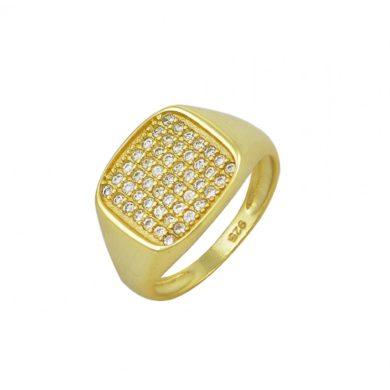 Ασημένιο Δαχτυλίδι Επιχρυσωμένο με Πέτρες Ζιργκόν